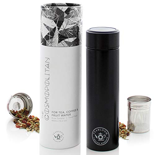 Teabloom All-Purpose Beverage Tumbler - 16 oz - 480 ml - Brushed Metal Insulated Water Bottle / Tea Flask / Cold Brew Coffee Mug - Extra-Fine Two-Way Infuser Travel Bottle - Jet Black