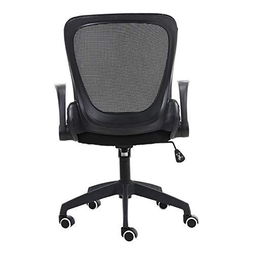 WSJQWHW Silla de oficina plegable con apoyabrazos, silla de malla de escritorio, silla ergonómica de ordenador, silla giratoria de 360°, ahorro de espacio, negro