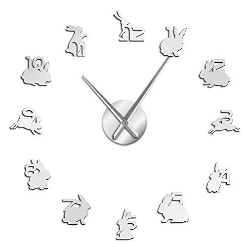 yrfchgj Reloj De Pared Números De Pegatina De Espejo De Conejo Grande De Familia De Conejo Colgante De Animales Reloj De Pared De Cuarzo Silencioso Decoración De Guardería De Bosque Plata 47 Pulgadas