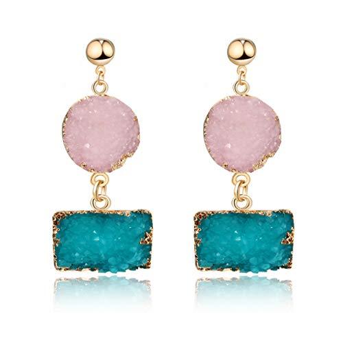 Youliy Coloridos pendientes de gota de piedra drusa de cuarzo natural con cristal de geoda, joyería de moda