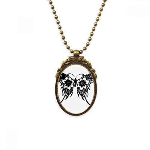 DIYthinker - Collar con Colgante de latón Envejecido, diseño de Mariposa con alas Florales