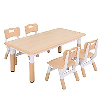 UNICOO - Kids Study Table and Chairs Set Height Adjustable Plastic Children Art Desk with 4 Seats Kids Multi Activity Table Set  Kids Table 5 Piece Set - Maple TOP + Natural Border