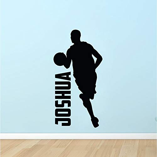 Tianpengyuanshuai Boy Basketball Dribble Silhouet Muurtattoo Slaapkamer Naam Boy Muursticker Vinyl Sport Sticker Home Decoration