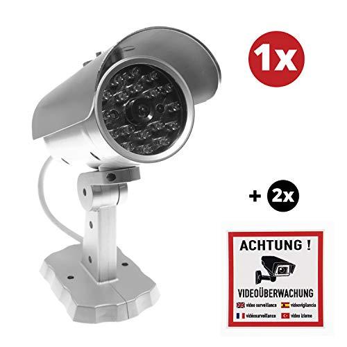 Überwachungskamera Attrappe Set   1x Kamera Attrappe mit LED inkl. 2X Warnaufkleber Warnschild Achtung Videoüberwachung   ideal zur Warnung und Abschreckung   für Innen & Außen geeignet