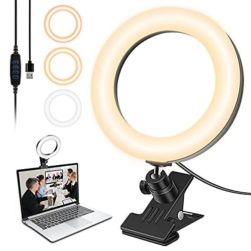 Pequeña luz LED para selfie, de 6,3 pulgadas, para smartphone, fotos, youtube, maquillaje, lámpara anular ajustable con 3 modos de iluminación y 10 niveles de luminosidad