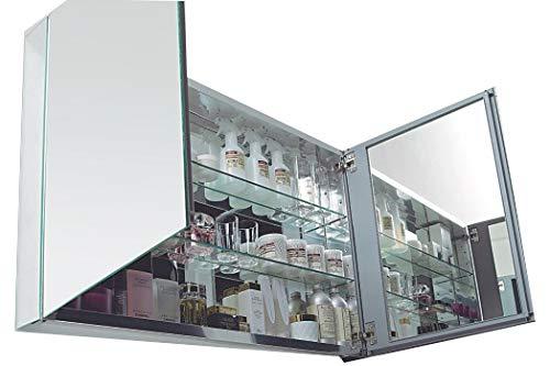 Aluminium-Spiegelschrank 2-türig - innen und außen Spiegel - 100 x 66 x 12 cm