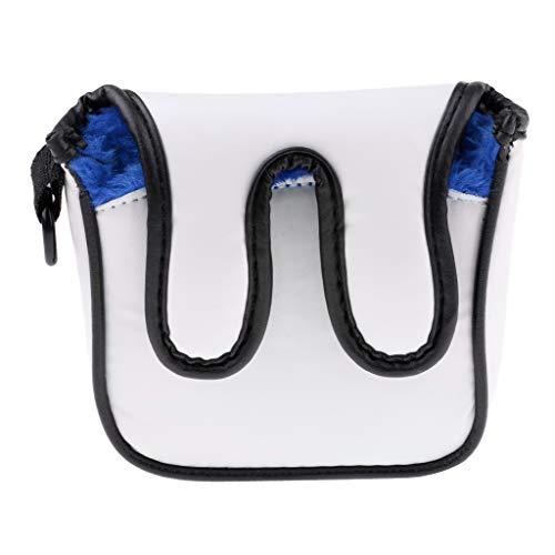 PU-Leder Golf Putter Head Cover Putterhaube Schlägerkopfhülle Abdeckung mit Karabinerhaken - Blau