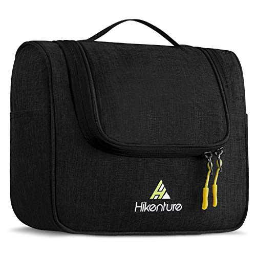 Toiletry Travel Bag by HIKENTURE, Hanging Wash Bag for Women and Men, Bathroom Toiletries Storage Bag, Make Up Cosmetic Organiser Compact, Home, Gym, Airplane, Hotel Use, Black