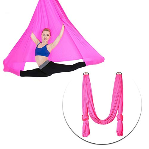 DAUERHAFT Columpio de Yoga aéreo multifunción Ligero, Duradero y Resistente, para Entrenamiento físico, para Entrenamiento de Postura, para Ejercicio de(Rose Red)