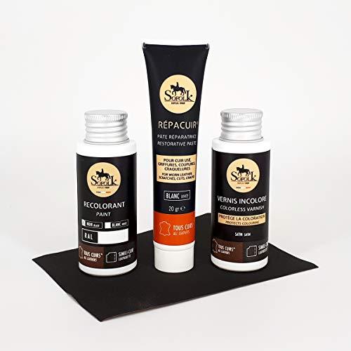 Kit di restauro in pelle (riparazione + vernice pelle + vernice) per VOLANT LEATHER (o seggiolino auto, sedia, ecc.) - NERO