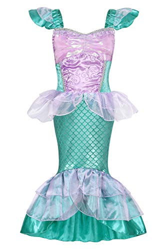 Jurebecia Princesa Vestidos Niñas Sirenita Disfraz Vestidos Niñas Outfit con Accesorio Halloween Fiesta de Cumpleaños 5-6 Años Azul