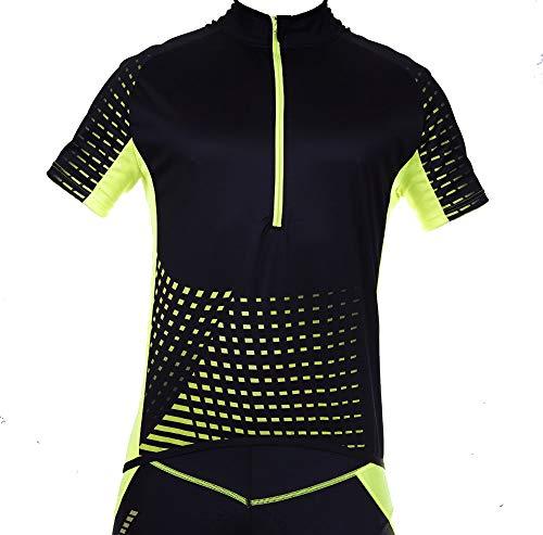 STANTEKS Kurzarm Herren Damen Unisex Radtrikot Fahrradtrikot Fahrradshirt Funktionsshirt Trikot Thermo Shirt Herren Fahrrad Radsport Reflektoren Jersey Bike Schnelltrokend SR0030 (Schwarz-grün, XXL)