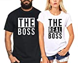The Real Boss - Partner-T-Shirt Damen und Herren - 2 Stück - Couple-Shirt Geschenk Set für Verliebte - Partner-Geschenke - Bestes Geburtstagsgeschenk - Partnerlook