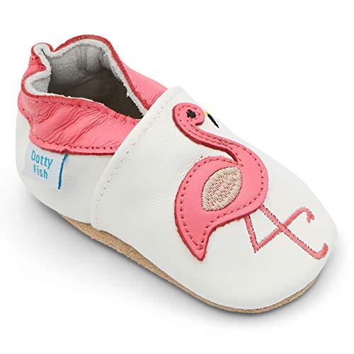 Dotty Fish Chaussures Cuir Souple bébé et Bambin. Filles. Blanc avec Flamant Rose. 18-24 Mois (22-23 EU)