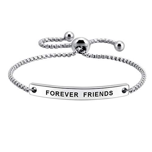 Foreve Friends Stainless Steel Engraved Inspirational Adjustable Bracelet Jewelry for Women Girls