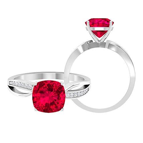 Anillo solitario de dos tonos de rubí creado por CT con acento moissanita, anillos de vástago dividido para mujeres (calidad AAAA), 14K Oro blanco, Size:EU 54