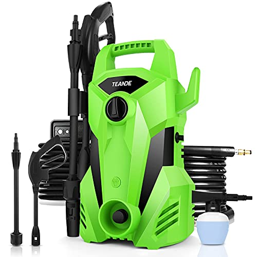 TEANDE 2300PSI Pressure Washer 2.2GPM Electric Pressure Washer 1400W Portable Power Washer with Adjustable Spray Nozzle, Soap Bottle, Pressure Cleaner for Cars/Fences/Patios