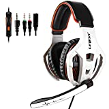 Xbox One PS4 PS5 Gaming Headset with Mic, 3.5mm Over Ear Stereo Surround Sound Noise Canceling Gamer Headphones for PC Mac Computer Games
