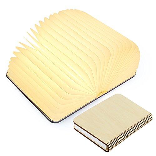 Tomshine Stimmungsbeleuchtung,Buch Lampe,Nachttischlampe,Tischleuchte,Warmweiß aus Holz,Papier mit USB-Kabel,Batteriebetriebene 500LM/880mAh 360°Faltbar