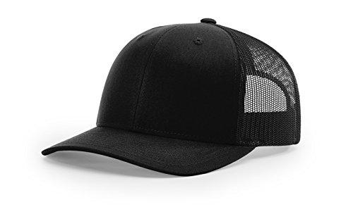 Running Partner Richardson 112 112P Trucker Mesh Snapback Hat Curved Bill with NoSweat Hat Liner (Adjustable Snapback Solid Colorway, Black)