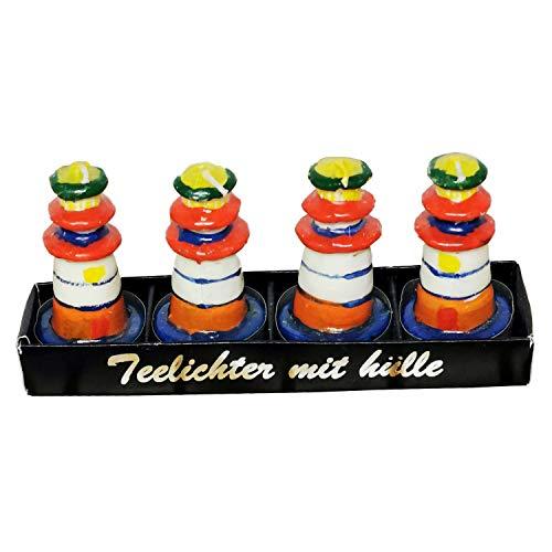 Land-Haus-Shop 4 Stück Teelicht Leuchtturm Maritim Deko Teelichter Wachs Kerzen Bunt hoch lang