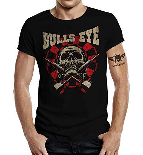 LOBO NEGRO Original Design, T-Shirt für den Dart Fan: Bulls-Eye Skull schwarz