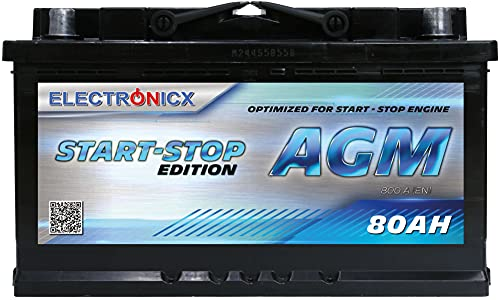 Electronicx AGM Autobatterie Starterbatterie Batterie Start-Stop 80 AH 12V 820A