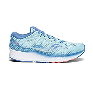 Saucony Women's Ride ISO 2 Running Shoe, Blue/Coral, 5 M US