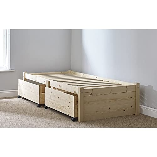 e00d27493de 3ft Single STORAGE Studio Solid Pine Bed Frame with two drawers