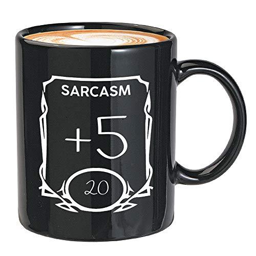 Game Kaffeetasse schwarz 313 ml – Sarcasm +5 – D&D Stats Sass Dungeons and Dragons RPG DnD für Geeks