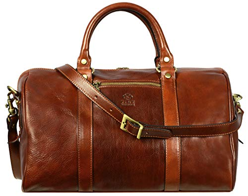 Full Grain Leather Duffle Bag Overnight Weekender Hand-Crafted Small Brown - Time Resistance
