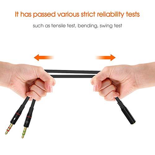 Sounce Gold Plated 2 Male to 1 Female 3.5mm Headphone Earphone Mic Audio Y Splitter Cable for PC Laptop – Black