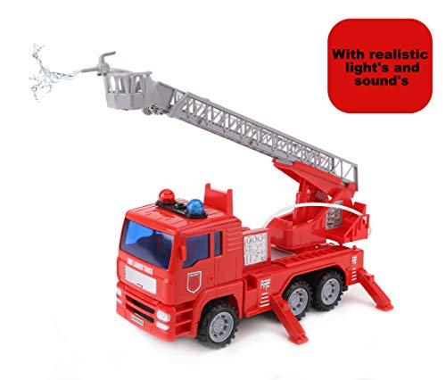 Toyland® Rode Brandweerwagen van 25 cm met Uitschuifbare Ladder - Met Licht en Geluid en Echte Watersproeier