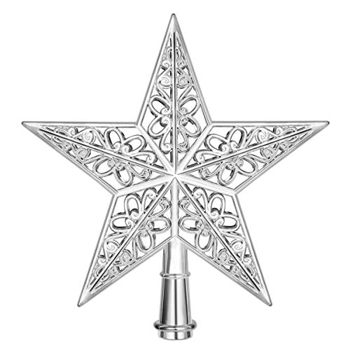 Amosfun Star Christmas Tree Topper Hollowed-out Silver Christmas Tree Top Xmas Tree Topper Ornaments for Holiday Home Office Shopping Mall Decor