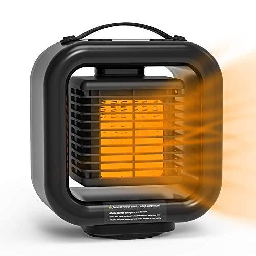 WYW 1000w Niveles de Potencia Calefactor,con 3 Niveles de Potencia,Función Ventilador Aire Frío, Sacudiendo la Cabeza 45 ° a Izquierda y Derecha,Depuración de Marchas