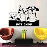 Calcomanía de vinilo para pared, calcomanía artística para pared, Animal, perro, gato, pez dorado, tortuga, pájaro, acuario, tienda de mascotas, tienda de belleza 57X86cm