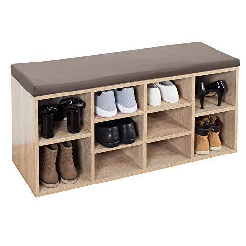 RICOO WM033-ES-B Banco Zapatero 104x49x30cm Armario Interior con Asiento Organizador Zapatos Mueble recibidor Perchero Madera Roble marrón