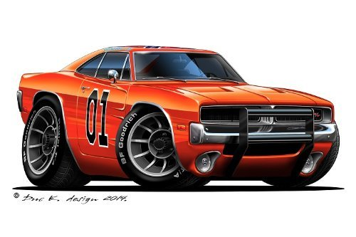 "12"" Dukes of Hazzard General Lee 1969 Dodge Charger car Wall Graphic Sticker Decal Home Kids Room Man Cave Garage Decor"