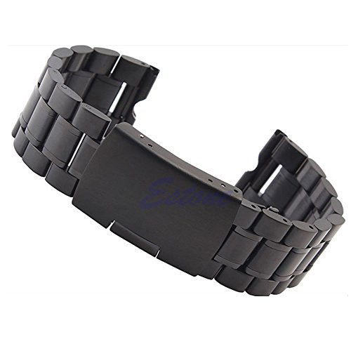 ZOOMY Correa de Reloj de Acero Inoxidable de 22 mm para Motorola Moto 360 Reloj Inteligente + Herramientas - Negro