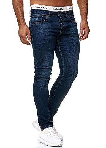 OneRedox Designer Herren Jeans Hose Regular Skinny Fit Jeanshose Basic Stretch 607 Deep Blue Used 31/32