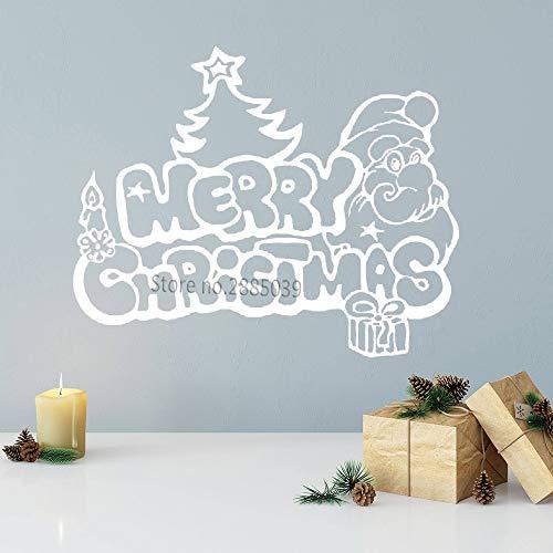 zhuziji Frohe Weihnachten Applique lustige Weihnachtsmann Weihnachtsbaum Geschenk Wandapplikation Vinylglasfenster, Wanddekoration Aufkleber Kunstwand 104x84cm