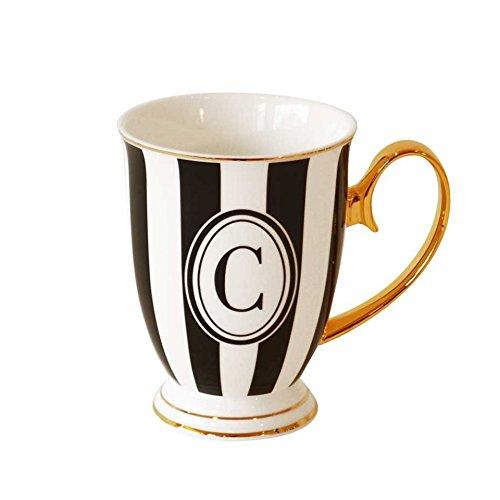 Bombay Duck Alphabet gestreifte Tasse Buchstabe C schwarz/weiß mit Gold Griff