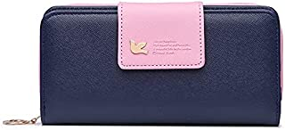 Elios Ladies Stylish PU Purse Wallet for Women with Zip Pocket, Card Holders, Coin Purse and Phone Pocket (Blue)