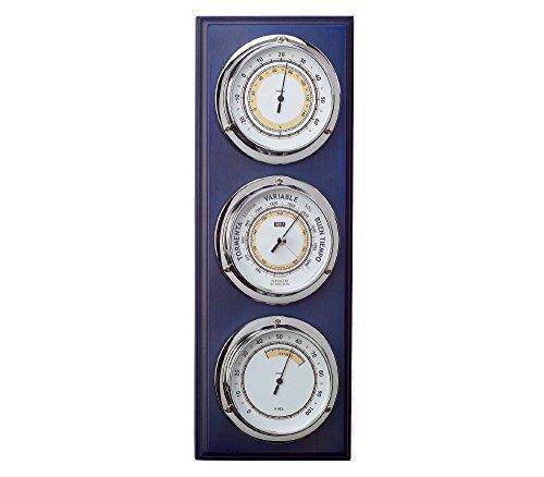 RELOJESDECO Estación meteorológica náutica, Barómetro y estación meteorológica Madera Lacado Azul náutica 40cm, Estación meteorológica Interior Exterior. 3 Relojes, barómetro, higrómetro, termómetro.