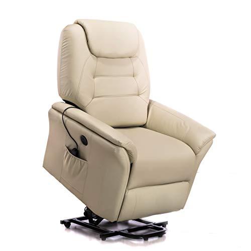 ECODE Sillón de Masaje Elevador Confort Plus Levantapersonas, USB, 9 Programas de Masaje, Polipiel High Touch, Beige (Beige)