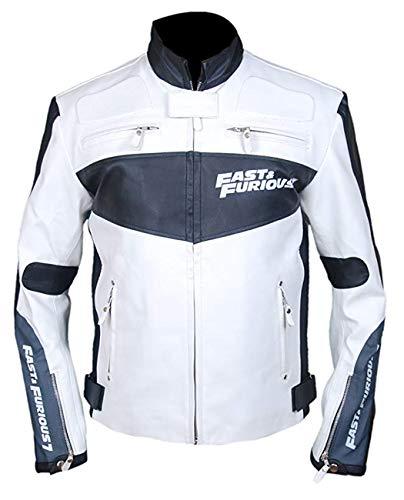 Men's Women's Sports Car Genuine Cowhide White Leather Jacket