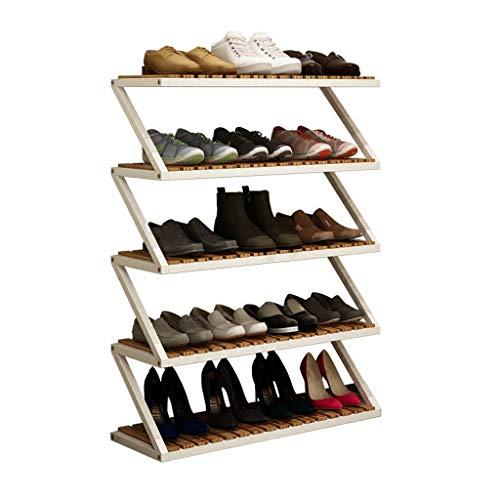 (3/4/5 Layer) en forma de Z Diseño zapatero, fácil de montar de madera natural estante multi-capa simple de almacenamiento en rack, zapatos de madera maciza Pequeño Gabinete de metal puesto de flores