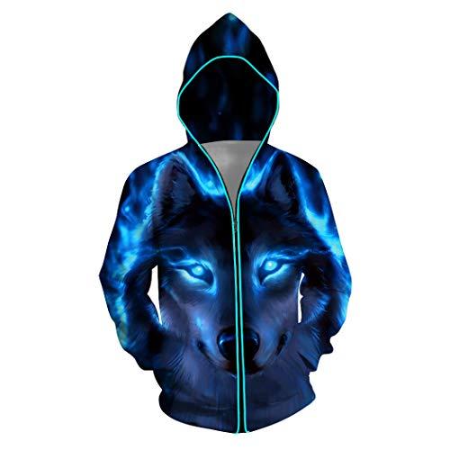 NooobTerrm Unisex LED-Hoodie 3D Druck Kapuzenpullover Langarm Galaxy Bunte Pullover Kapuzenpulli Sweatshirt Kapuzenjacke S-2XL(2XL,Wolf)