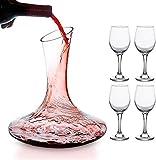 mafiti Wein Dekanter, Wein Karaffe Set, Wein Zubehör, Kristallglas Weindekantierer, 1.8L Rotwein Karaffe mit 4 Kristallbechern, Wein Geschenke, Perfekt für zu Hause, Restaurants und Partys