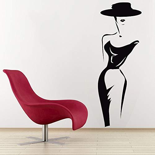 Boezhl Moda Mujer Etiqueta de la Pared Modelo Lady Hat Tatuajes de Pared Dormitorio cabecera Vinilo decoración del hogar 57x20 cm